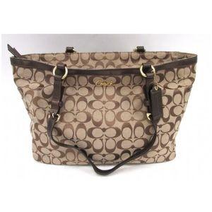 Coach Signature Brown Leather Trim Tote Handbag